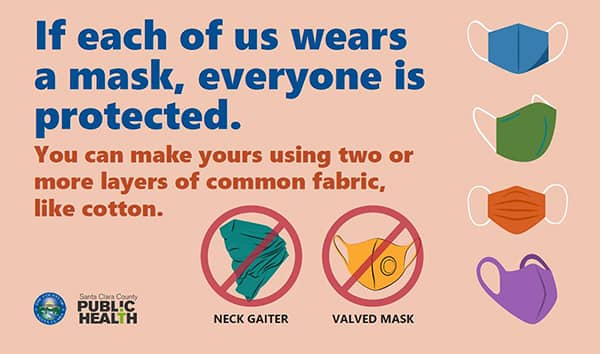 If each of us wears a mask, everyone is protected. You can make yours using two or more layers of common fabric, like cotton.